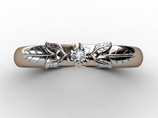 14k two tone rose/white gold diamond floral wedding band