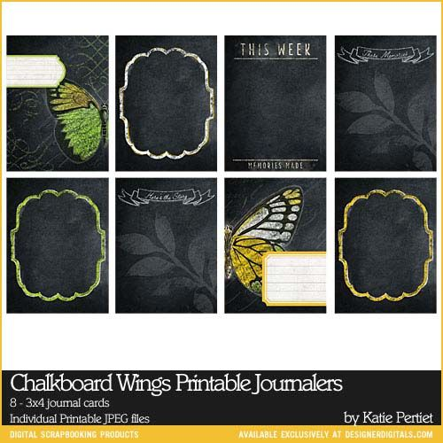 #Chalkboard Wings Printable 3x4 Journal Cards for #ProjectLife