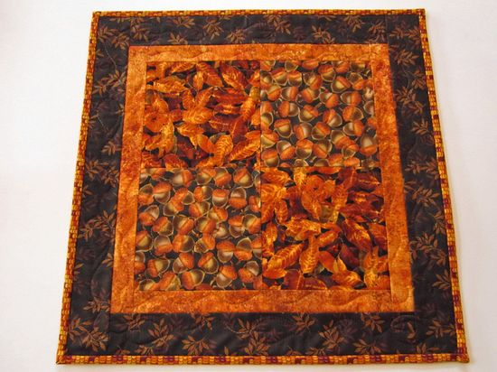 Handmade Quilted Table Topper Fall Acorns