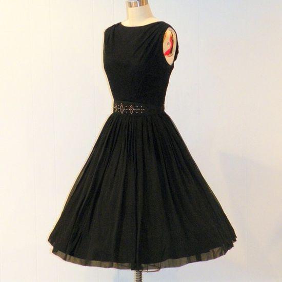 Vintage 50s Black Silk Chiffon Formal Cocktail Wedding Party Prom Dress, Rhinestone Studded Belt, Full Gathered Skirt, R&K originals, New Look