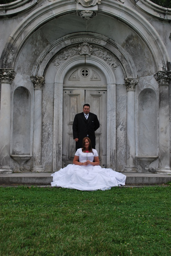 wedding photo in old cemetery