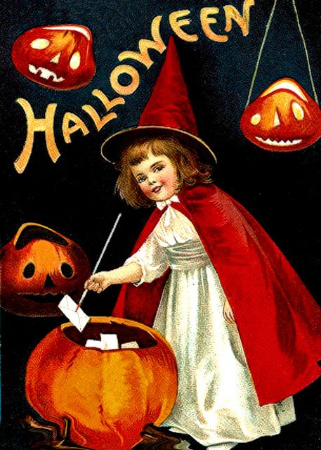 What a wonderfully sweet little vintage witch, complete with red hat and cape, and family of Halloween jack-o-lanterns. #vintage #Halloween #witch #costume #postcard #card #antique  #cute