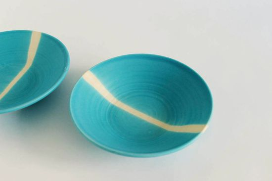 Made to order: set of two ceramic pottery plates, aqua turquoise serving dish., via Etsy.
