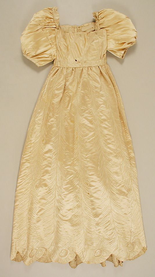 Dress    Date:      1809  Culture:      French  Medium:      silk  Dimensions:      Length at CB: 50 1/2 in. (128.3 cm)  Credit Line:      Gift of Miss Geraldine Shields and Dr. Ida Russell Shields, 1948  Accession Number:      C.I.48.14.2