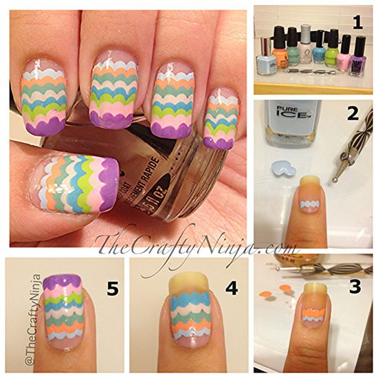 Scalloped nail art manicure with a dotting tool