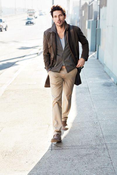 brown coat, grey zipped cardigan, light blue v collar tee, beige pants / men fashion