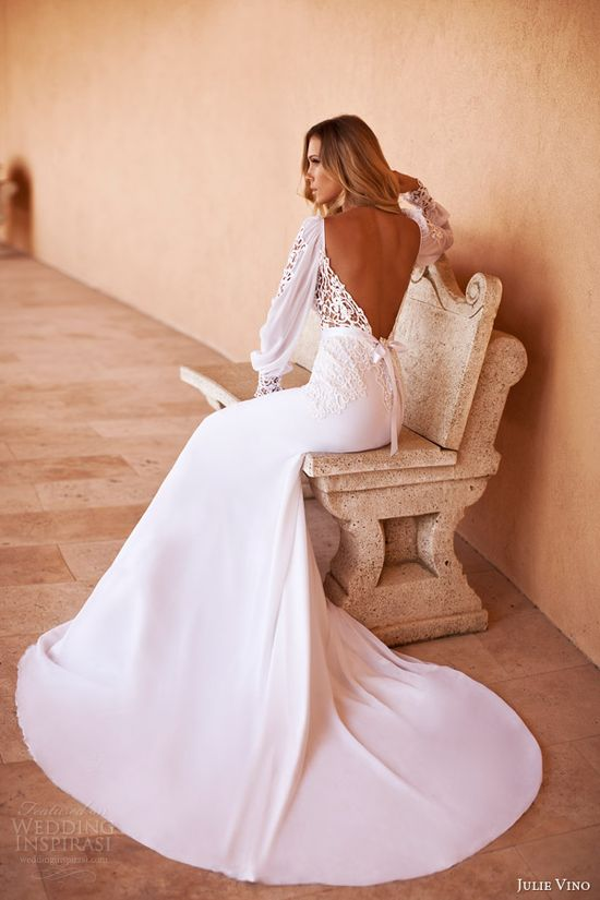 julie vino 2014 bridal long sleeve wedding dress back