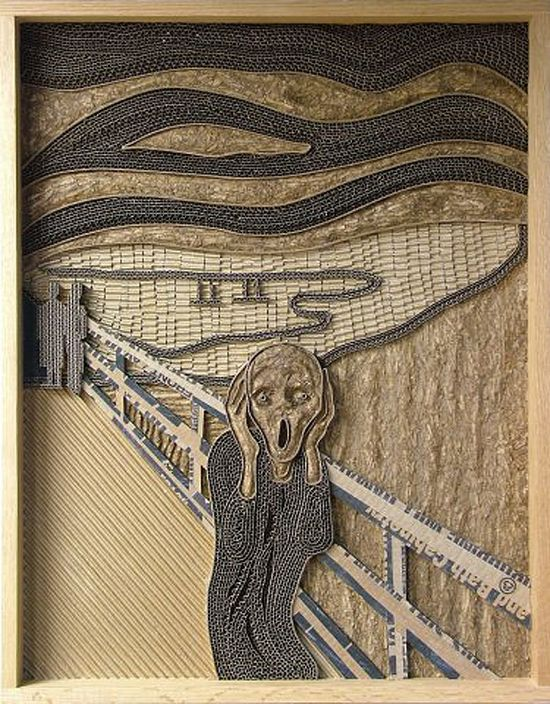 RECYCLED CARDBOARD INTO 3D ART