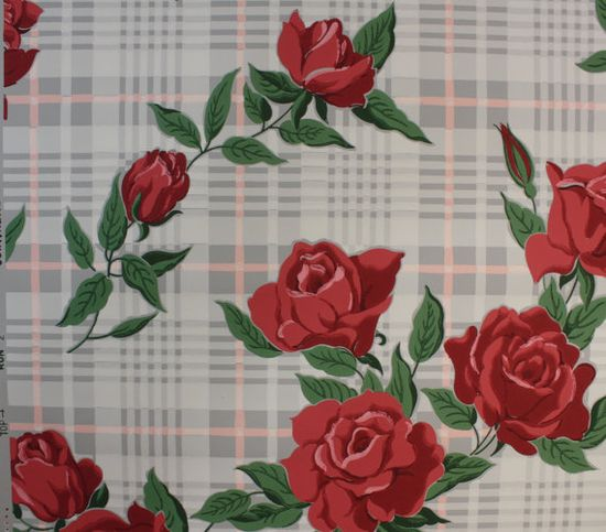 1940's Vintage Wallpaper Large Red Roses on by HannahsTreasures, $14.00