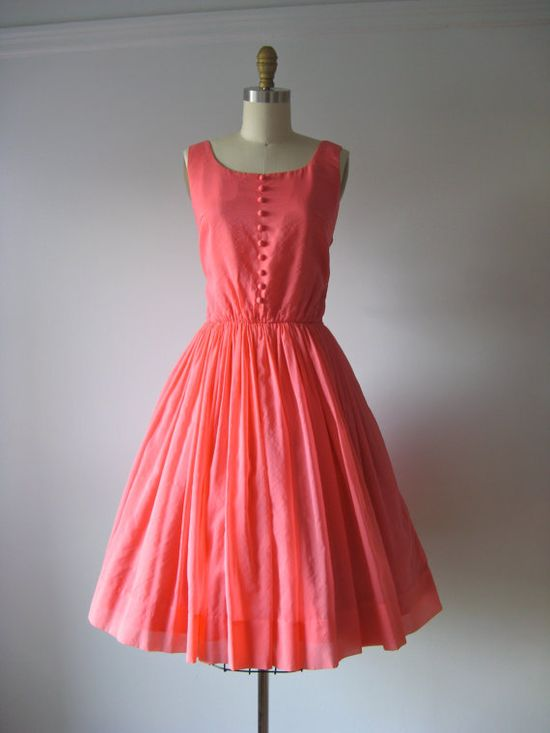 vintage 1950s coral pink party dress