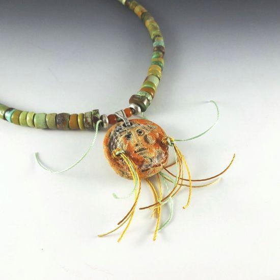 Necklace Pendant Sun God Stoneware by CalliopeAZCreations on Etsy, $95.00