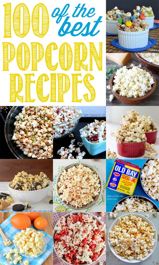 Ultimate Popcorn Recipes Round Up - 100 of the BEST Popcorn Recipes! - Simply Klassic Home  @Heather Creswell Creswell Creswell Creswell Myatt - i need my popcorn buddy to try some of these out with! wish i could come sit with you and share popcorn right now!