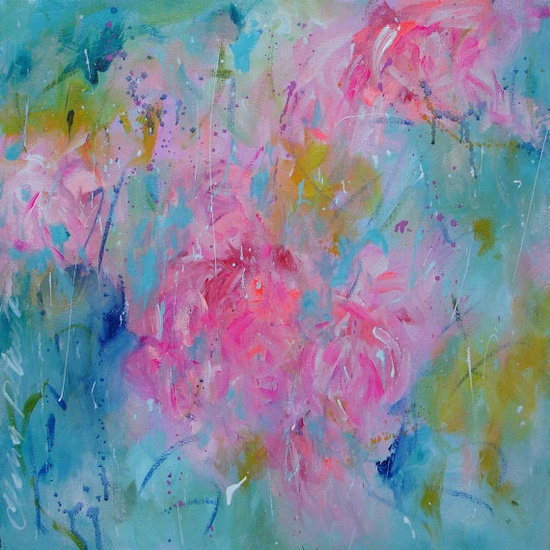 ELENA CRAZY sale abstract painting original contemporary 20x20