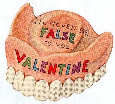 False teeth vintage valentine