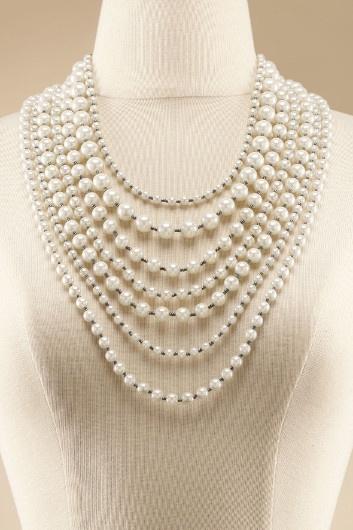 La Femme Multi Strand Pearl Necklace