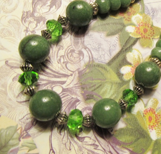 Vintage Inspired Jade and Green Crystal by #RomanticThoughts, #jewelry, #necklace, #Jade