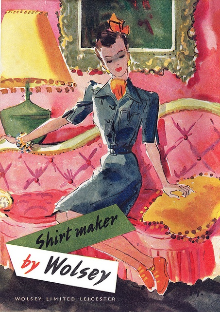 A 1940s Wolsey Shirt Maker advertisement that's vibrant and lovely enough to frame. #vintage #1940s #ad #fashion