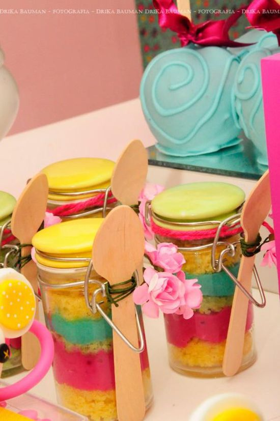 Cute cake in a jar idea! Lalaloopsy party on Kara's Party Ideas karaspartyideas.com