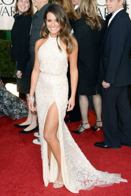 Lea Michele in Elie Saab, Golden Globes 2013
