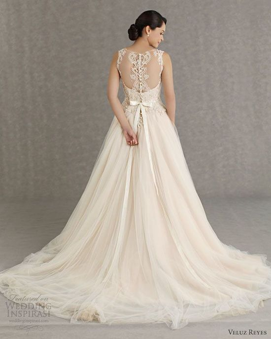 Veluz Reyes Wedding Dresses 2013: I'd have the front shorter so you could see my awesome shoes. I love this dress though!