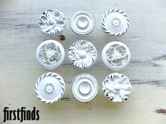 9 Misfit Knobs Shabby Chic White Kitchen Reno by Firstfinds, $54.00