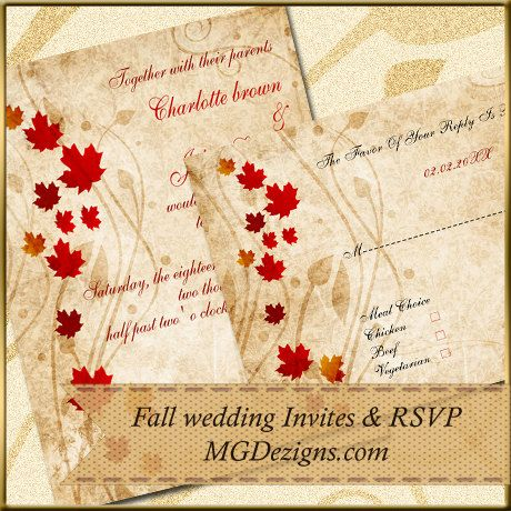 Elegant  maple leaves rustic Fall wedding  Invites by MGDezigns, $22.00