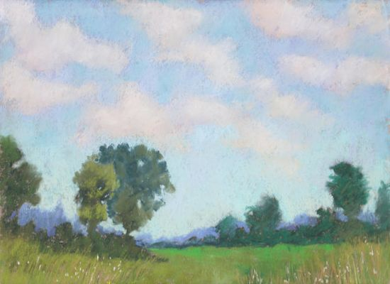 Original Pastel Landscape Painting  Summer Sky by by ColetteSavage, $295.00