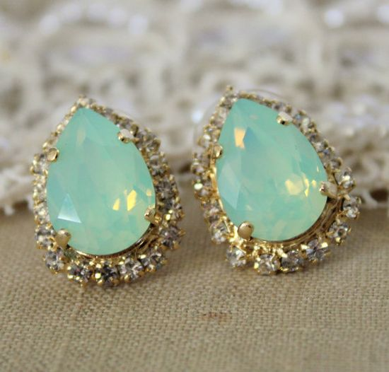 Mint Crystal big teardrop stud earring - 14k plated gold post earrings real swarovski rhinestones .
