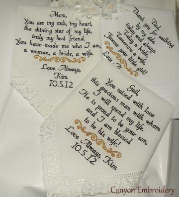 Three Personalized Wedding Hankerchiefs