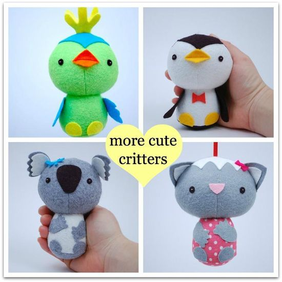 More Cute Critters - a tropical bird, a penguin, a koala, and a kitten! This pattern is for easy-to-make felt toys that can become holiday ornaments or plush keychains! Now available for $9.00 in both my Etsy shop and my Craftsy pattern shop!