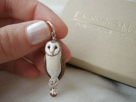 {Barn Owl Bird Necklace Pendant} beautifully hand painted owl