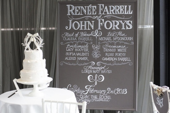 Love, love, love this chalkboard program...Photography by inlighten.com.au Floral Design by summersfloral.com.au  Read more - www.stylemepretty...