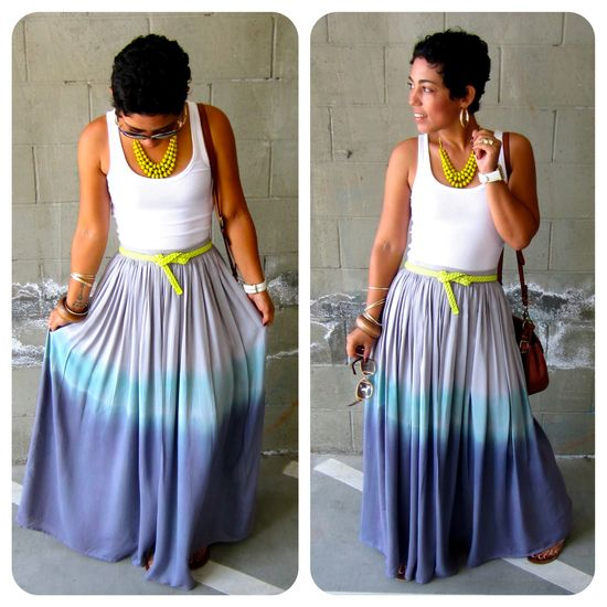 DIY: ombre dyed maxi skirt