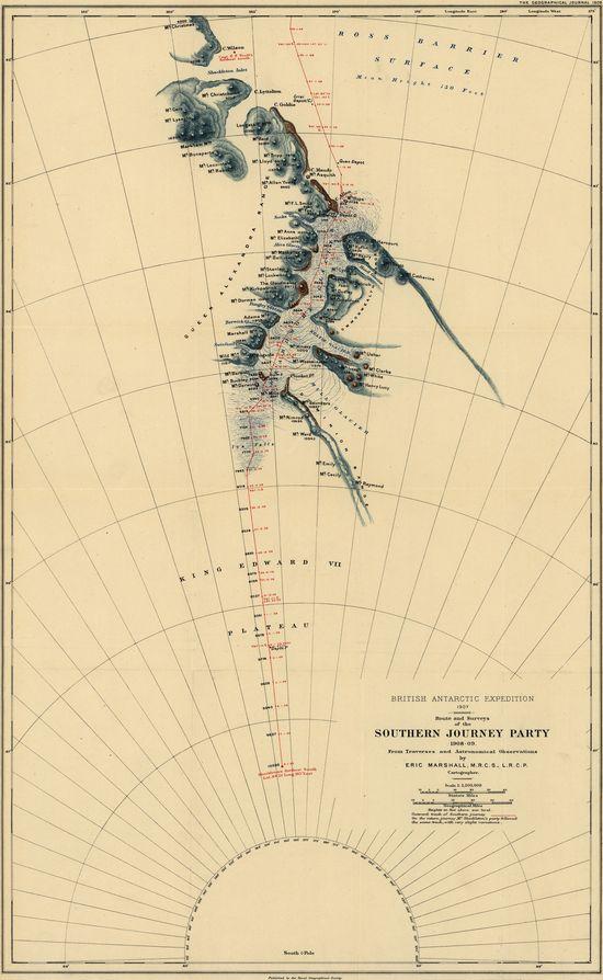 Map of Shackleton's Trans-Antarctic Expedition of 1914–17