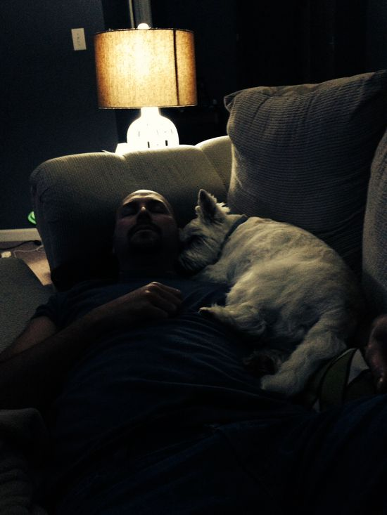 My sweet hubby and Jack the baby dog.  Aw