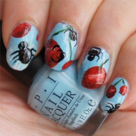 Cherries and Spiders - Nail Art Gallery by NAILS Magazine