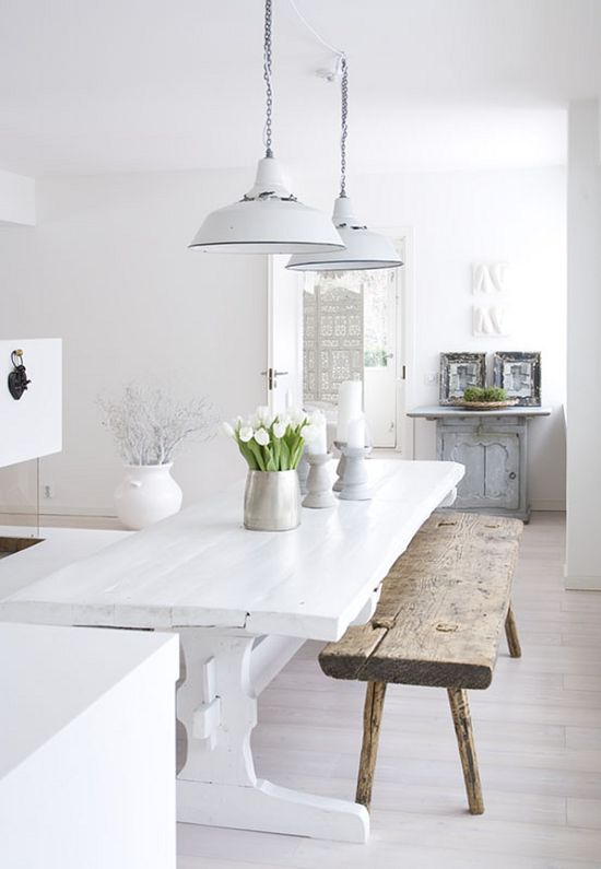 white table, pendants, floors, rustic bench