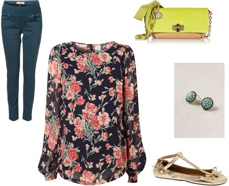 spring floral maternity outfit