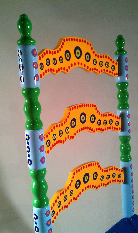 Hand Painted Furniture Colorful Crazy Ladder Back by LisaFrick