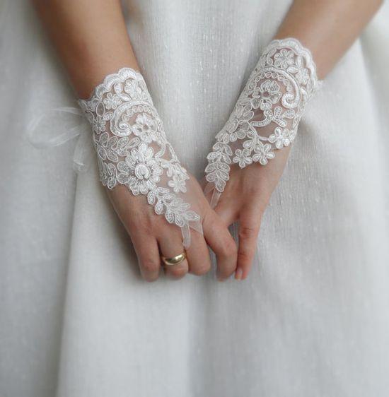 ivory wedding glove gloves fingerless gloves bride by WEDDINGHome, $35.00