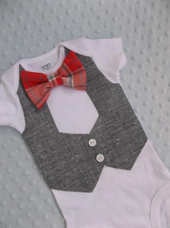 Baby Boy Bowtie Vest Onesie  For a Handsome Baby Boy