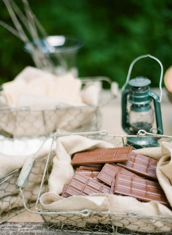 camping party s'mores station from The Sweetest Occasion