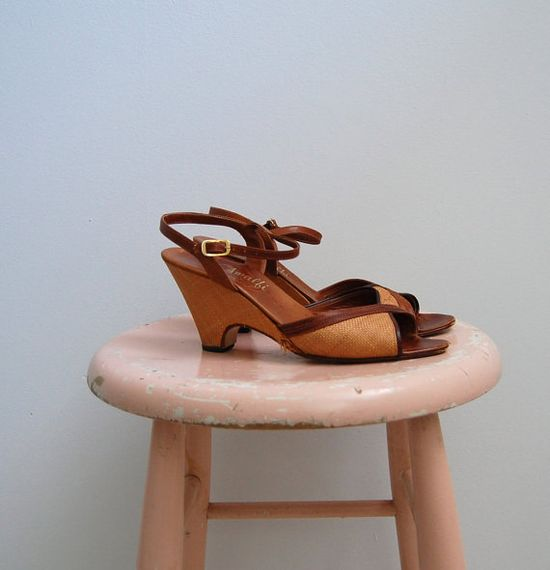 Vintage 1950s Shoes  Straw Wedges  The Hepburn by BohemianBisoux, $48.00