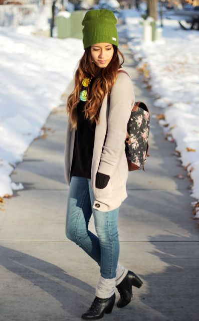stunning fashionable shoes and fabulous winter outfit