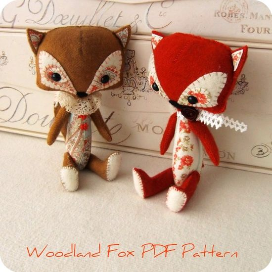 Woodland Fox PDF Pattern by Gingermelon on Etsy, $6.50 - Loving this  fox idea, not a freebie. Just like to ogle softies... xox