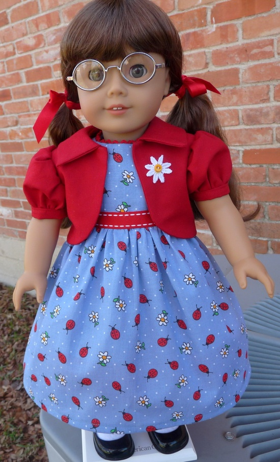 "18"" Doll Clothes Ladybug Dress for Spring Fits American Girl Molly, Emily, Kit, Ruthie"