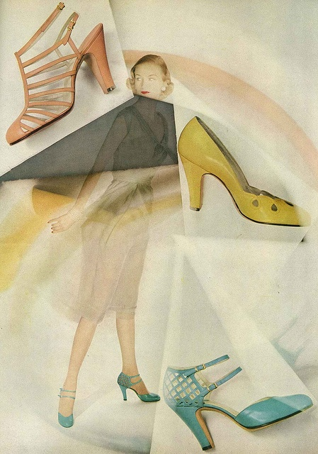 Love how these stylish 1950s shoes are similarly hued to many a kitchen of the era. #vintage #fashion #1950s #shoes