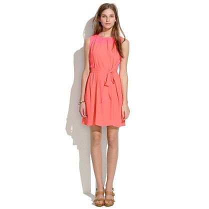 Madewell Bungalow Dress—The fabric along the shoulders is a pink, with the rest of the dress in coral.