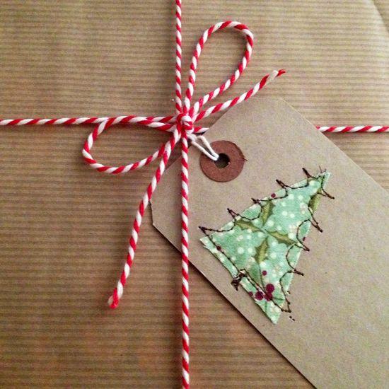 Machine embroidered Christmas gift tag