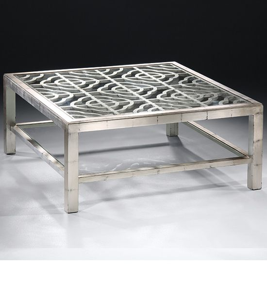 coffee table - antiqued silver coffee table with glass top and open work design